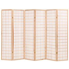 Biombo plegable con 6 paneles estilo japonés 240x170 cm natural