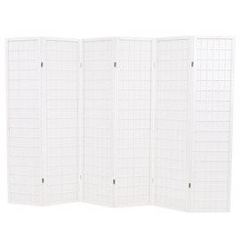 Biombo plegable con 6 paneles estilo japonés 240x170 cm blanco