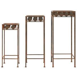 Juego de soportes de planta 3 pzas estilo vintage metal oxidado