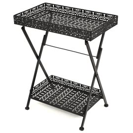 Mesa de centro plegable estilo vintage metal 58x35x72 cm negro