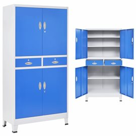 Armario taquilla con 4 puertas metal 90x40x180 cm gris y azul