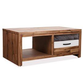 Mesa de centro de madera maciza de acacia 90x50x37,5 cm