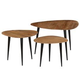 Juego de mesas de centro 3 piezas madera de acacia maciza