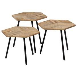 Set de mesas de centro 3 piezas madera teca reciclada hexagonal