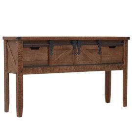 Mesa consola de madera de abeto maciza marrón 131x35,5x75 cm