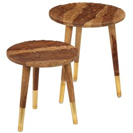 Mesas de centro 2 piezas madera maciza de sheesham