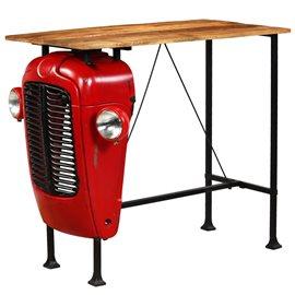 Mesa de bar de tractor madera maciza mango roja 60x120x107 cm