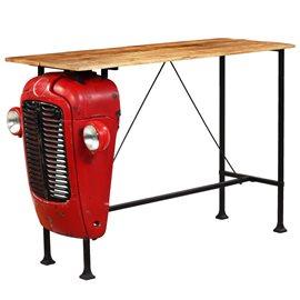 Mesa de bar de tractor madera maciza mango roja 60x150x107 cm