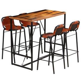 Set muebles bar 5 piezas madera maciza reciclada y cuero cabra