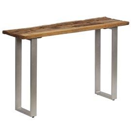 Mesa consola madera de traviesas y acero 120x35x76 cm