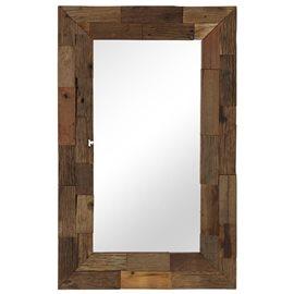 Espejo de madera maciza de traviesas del tren 50x80 cm