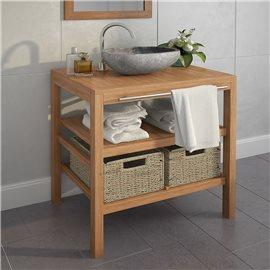 Mueble tocador madera teca maciza con lavabo de piedra de río