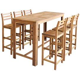 Set mesa de bar y sillas 7 piezas de madera de acacia maciza