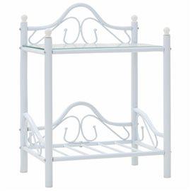 Mesita de noche de acero y vidrio templado 45x30,5x60 cm blanco