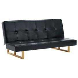 Sofá cama de cuero sintético negro