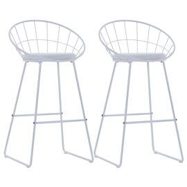 Sillas de bar 2 uds asientos de cuero sintético acero blanco