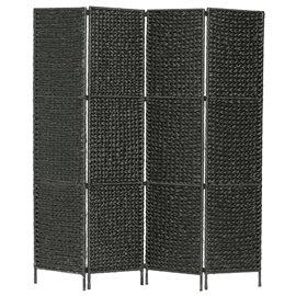 Biombo divisor 4 paneles jacinto de agua negro 154x160 cm