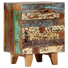 Mesita de noche tallada a mano madera reciclada 40x30x50 cm