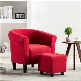 Set de sillón con taburete reposapiés 2 piezas tela rojo vino