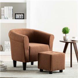 Set de sillón con taburete reposapiés 2 piezas tela marrón