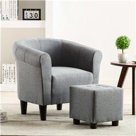 Set de sillón con taburete reposapiés 2 piezas tela gris claro