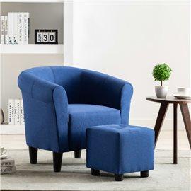 Set de sillón con taburete reposapiés 2 piezas tela azul