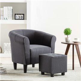 Set de sillón con taburete reposapiés 2 piezas tela negro