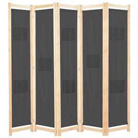 Biombo divisor 5 paneles de tela gris 200x170x4 cm