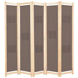 Biombo divisor de 5 paneles de tela marrón 200x170x4 cm