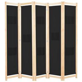 Biombo divisor de 5 paneles de tela negro 200x170x4 cm