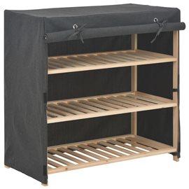 Mueble zapatero con funda de tela gris 79x40x80 cm