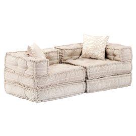 Sofá cama modular de 2 plazas de tela beige