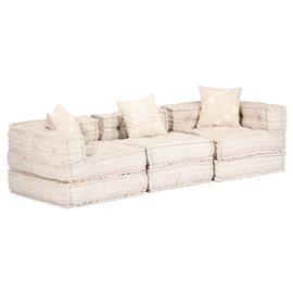Sofá cama modular de 3 plazas de tela beige
