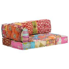 Cojín para sofá de palés tela multicolor patchwork
