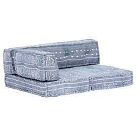 Cojín para sofá de palés tela añil patchwork