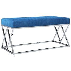 Banco de acero inoxidable y terciopelo azul 97 cm