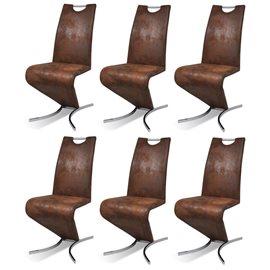 Sillas de comedor Cantilever 6uds forma H cuero artificial marrón
