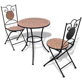 Set de mesa y sillas de jardín 3 piezas con mosaico terracota
