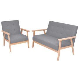 Juego de sofás de 2 piezas de tela gris claro