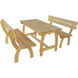 Mesa de jardín con 2 bancos madera de pino impregnada FSC
