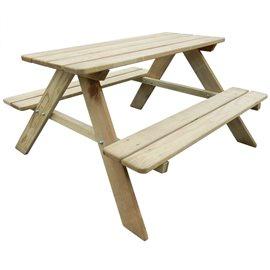 Mesa de picnic para niños 89x89,6x50,8 cm madera de pino FSC