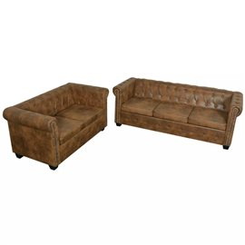 Conjunto de sofá chesterfield 2+3 plazas marrón
