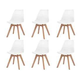 Sillas de comedor 6 unidades cuero artificial blanco y madera