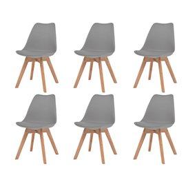 Sillas de comedor 6 unidades cuero artificial gris y madera