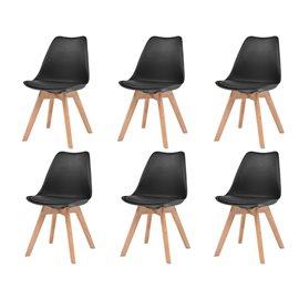 Sillas de comedor 6 unidades cuero artificial negro y madera