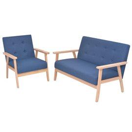 Juego de sofás de tela de 2 piezas color azul