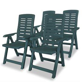 Sillas de jardín reclinables 4 unidades plástico verde