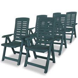 Sillas de jardín reclinables 6 unidades plástico verde