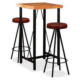 Set muebles de bar 3 pzas madera maciza sheesham cuero genuino