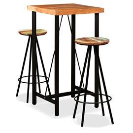 Set de muebles de bar 3 piezas sheesham y madera reciclada